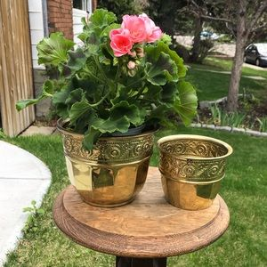 PAIR of vintage brass plant pots planters england